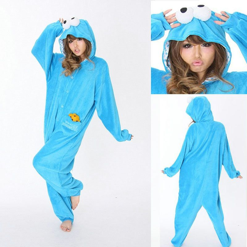 Adult cookie monster strampler fleece cartoon foto 4