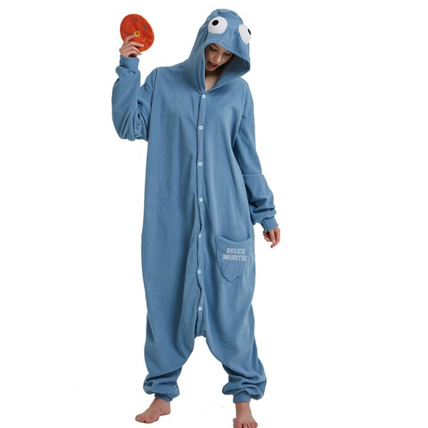 Adult cookie monster strampler fleece cartoon