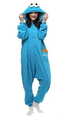 Adult cookie monster strampler fleece cartoon foto 1