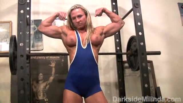 Sexy blonde shemuscle workout tmb
